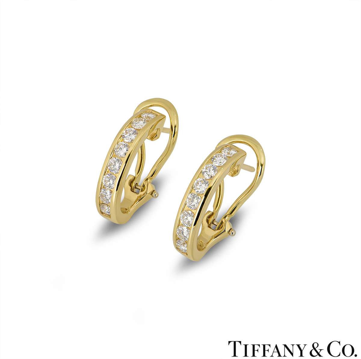 Tiffany & Co 18k Yellow Gold Diamond Set Hoop Earrings 0.96ct